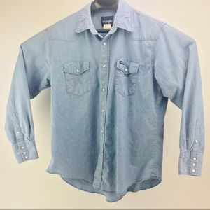 Wrangler Vintage Long Sleeve Denim Pearl Snaps XL